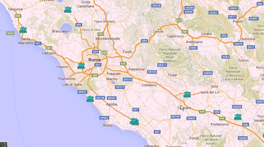mappa parchi acquatici Lazio