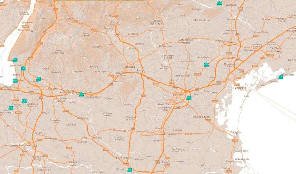 mappa parchi acquatici del Veneto