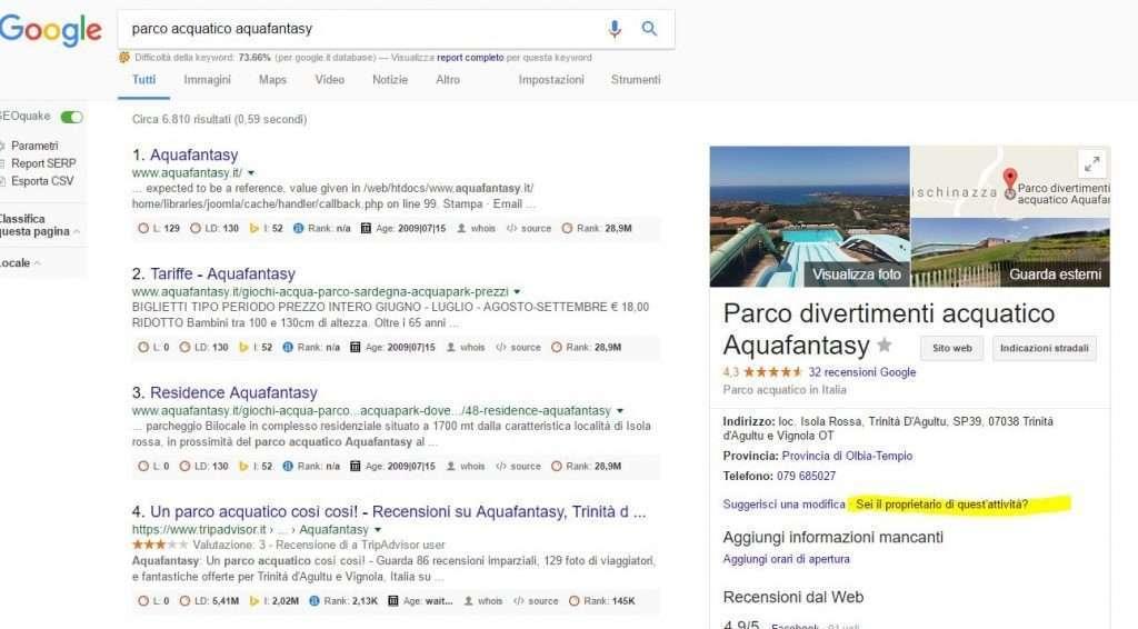 Esempio google sei il proprietario dell'attività? Local search parchi divertimento marketing